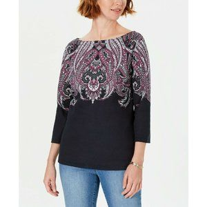 Karen Scott Large Lile Paisley Printed Top 047